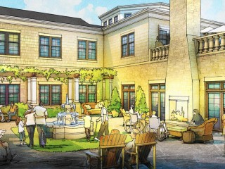 Annapolis Bay Village Assisted Living fountain courtyard