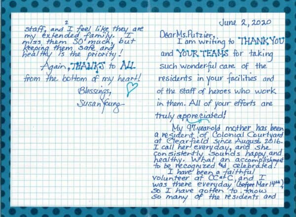 Family Letter Thank You from S Young, Clearfield PA